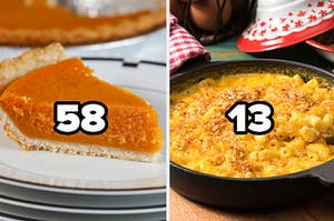 Sweet potato pie with the number 58 and mac and cheese with the number 13