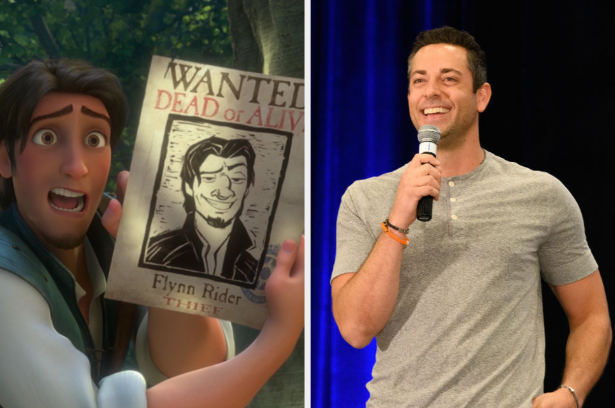 Flynn holding up his wanted poster and Zachary Levi