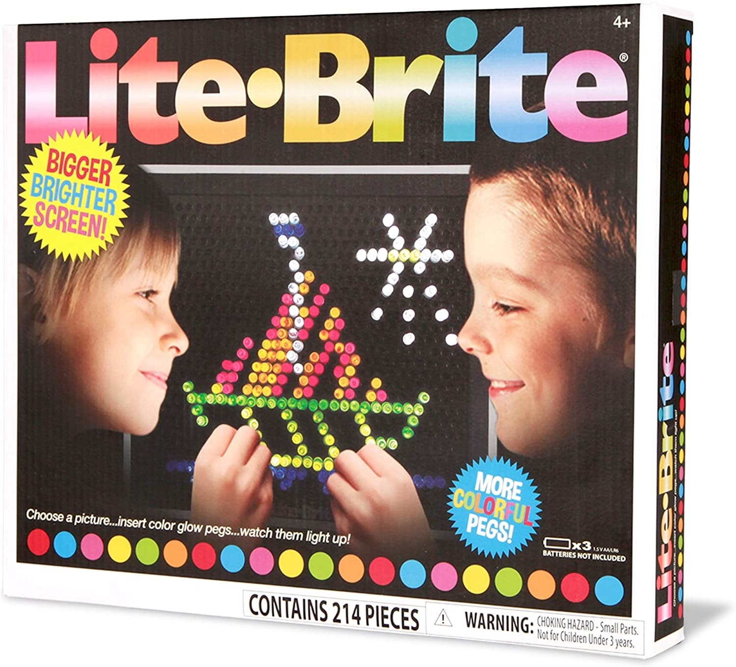 The Lite Bright box which says the kit contains 214 pieces and a bigger, brighter screen