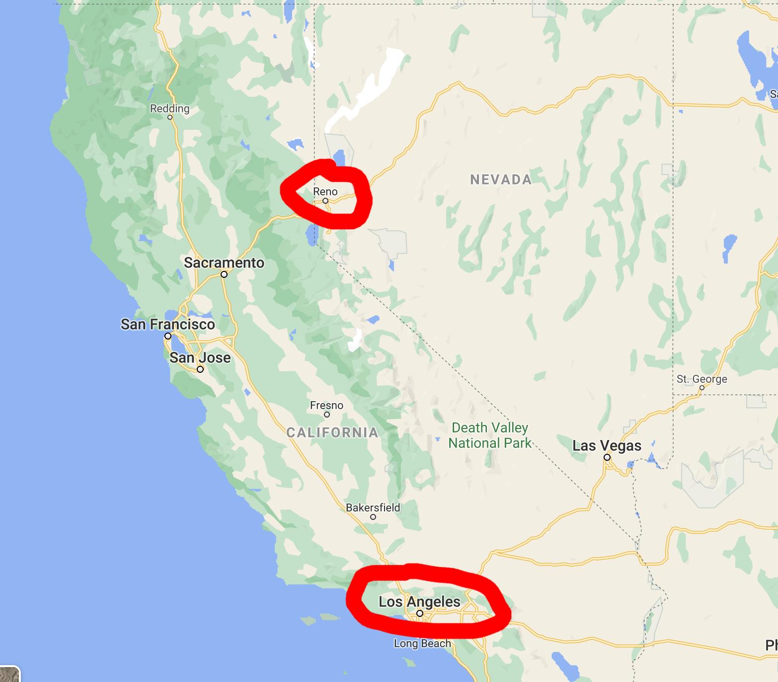 map of reno and LA