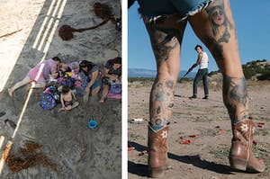 A family lying on the beach on the left, photographed from above; a man with a rifle looking back at the camera through the tattooed legs of a woman.