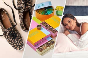 A pair of tennis shoes, four gift boxes of tea samples, a person lying on a bed with a pillow that has a silk pillowcase on it
