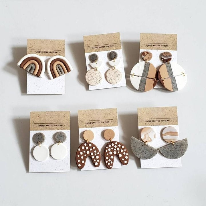 Six pairs of example earrings one can make with the kit