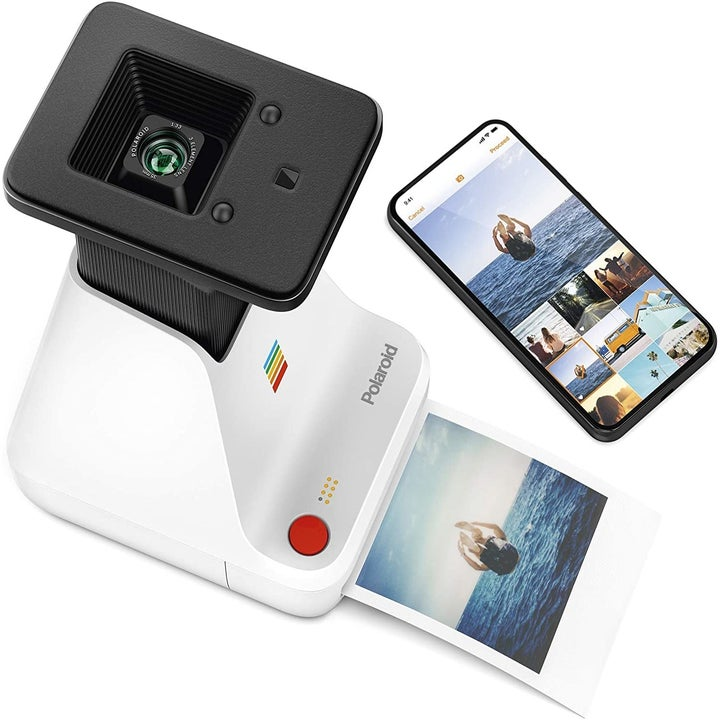 The Polaroid Lab next to a smartphone
