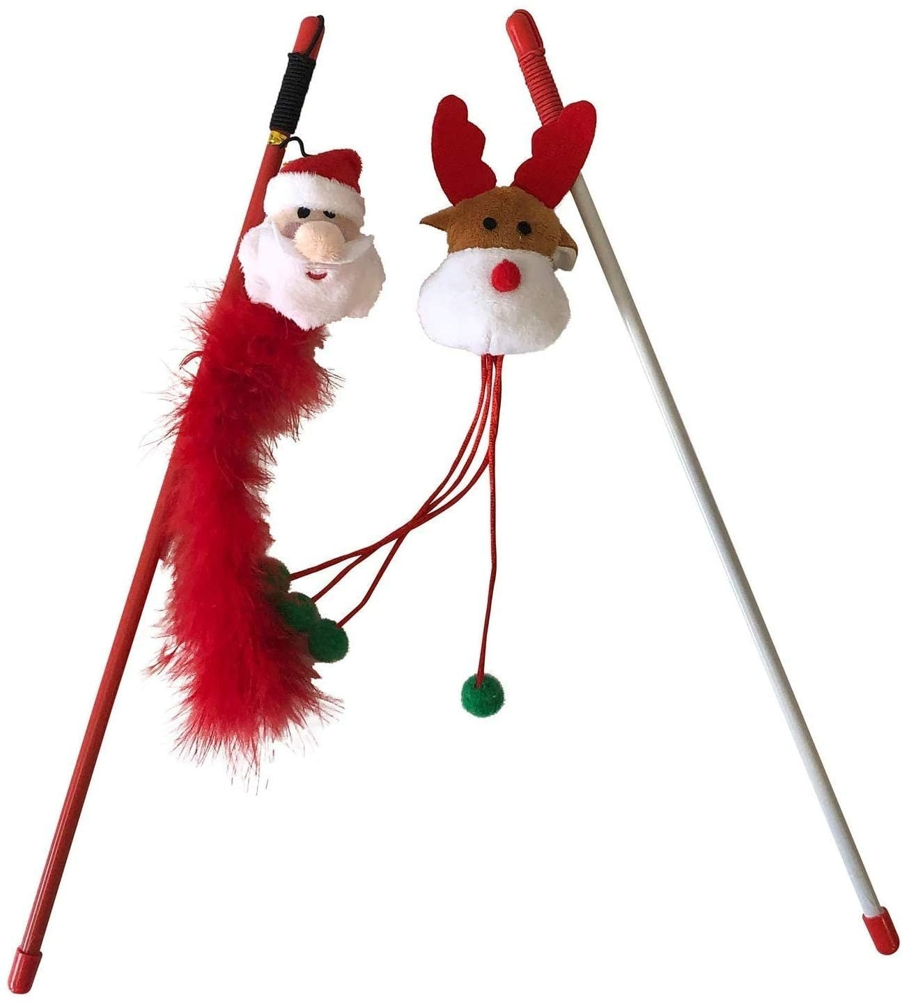 The two wands—one with a plush Santa head and feathers, and the other with a plush reindeer head and a string with a bead