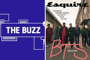 """Splitscreen of purple graphic with THE BUZZ in white letters on the right side and Esquire's BTS cover with the quote """"WORLD DOMINATION WASN'T OUR PLAN"""" on the left (CREDIT: ESQUIRE/HONG JANG HYUN)"""