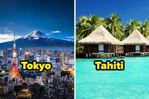 Tokyo city with Mt. Fuji in the background, and huts on the ocean in Tahiti with palm trees in the background