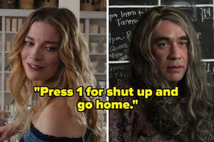 """Alexis Rose from Schitt's creek on the left and candace from portlandia on the right with the text """"press 1 for shut up and go home"""" over them"""
