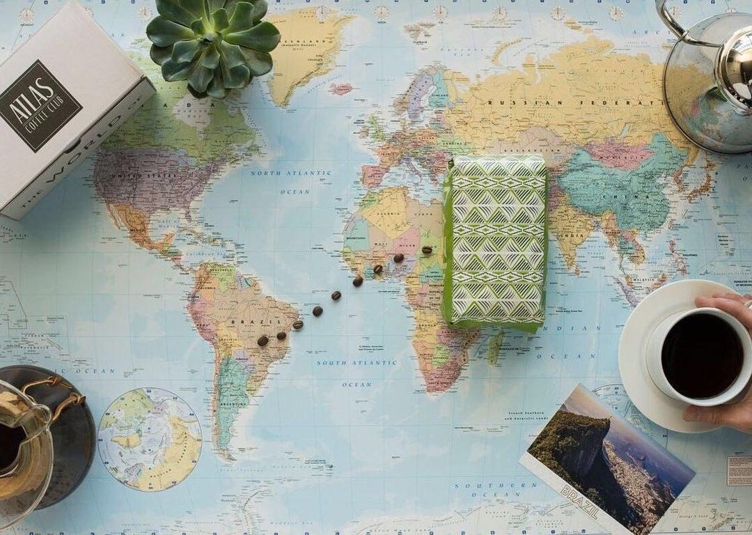coffee bag on map