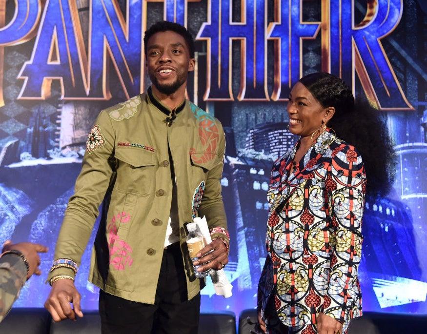 Actors Chadwick Boseman (L) and Angela Bassett attend the Marvel Studios' BLACK PANTHER Global Junket