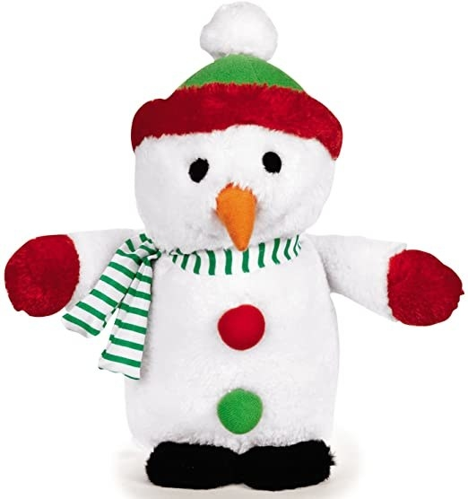 The snowman toy, which has a head, body, and two long arms