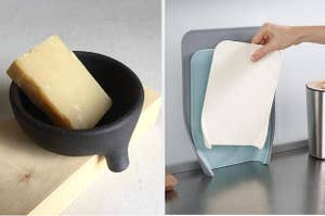 Two panels, from left to right, showing a bar of soup sitting in a small dish with a drainage spout and a hand nesting a cutting board into two larger ones