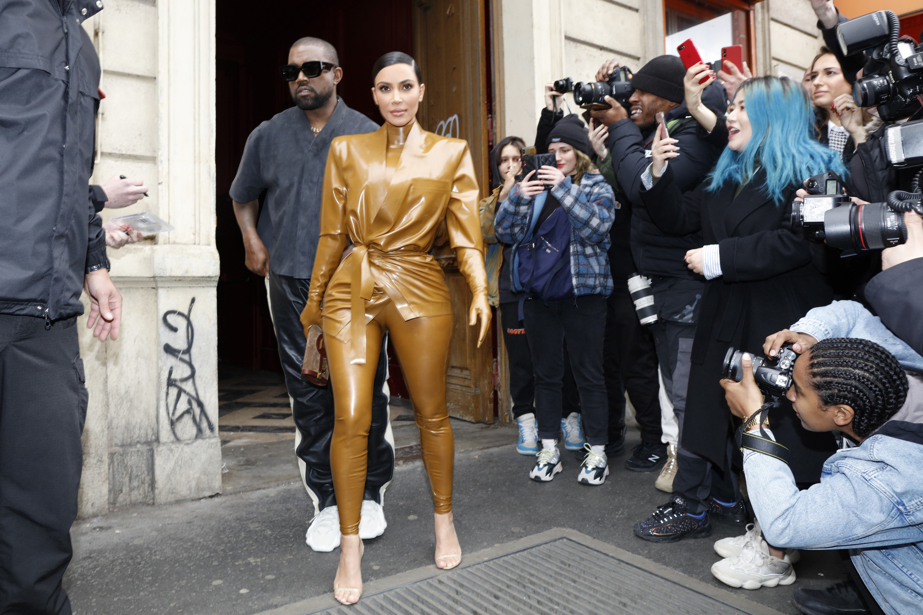 Kim Kardashian and Kanye West at the Theatre des Bouffes du Nord to attend Kanye West's Sunday Service on March 01, 2020 in Paris, France