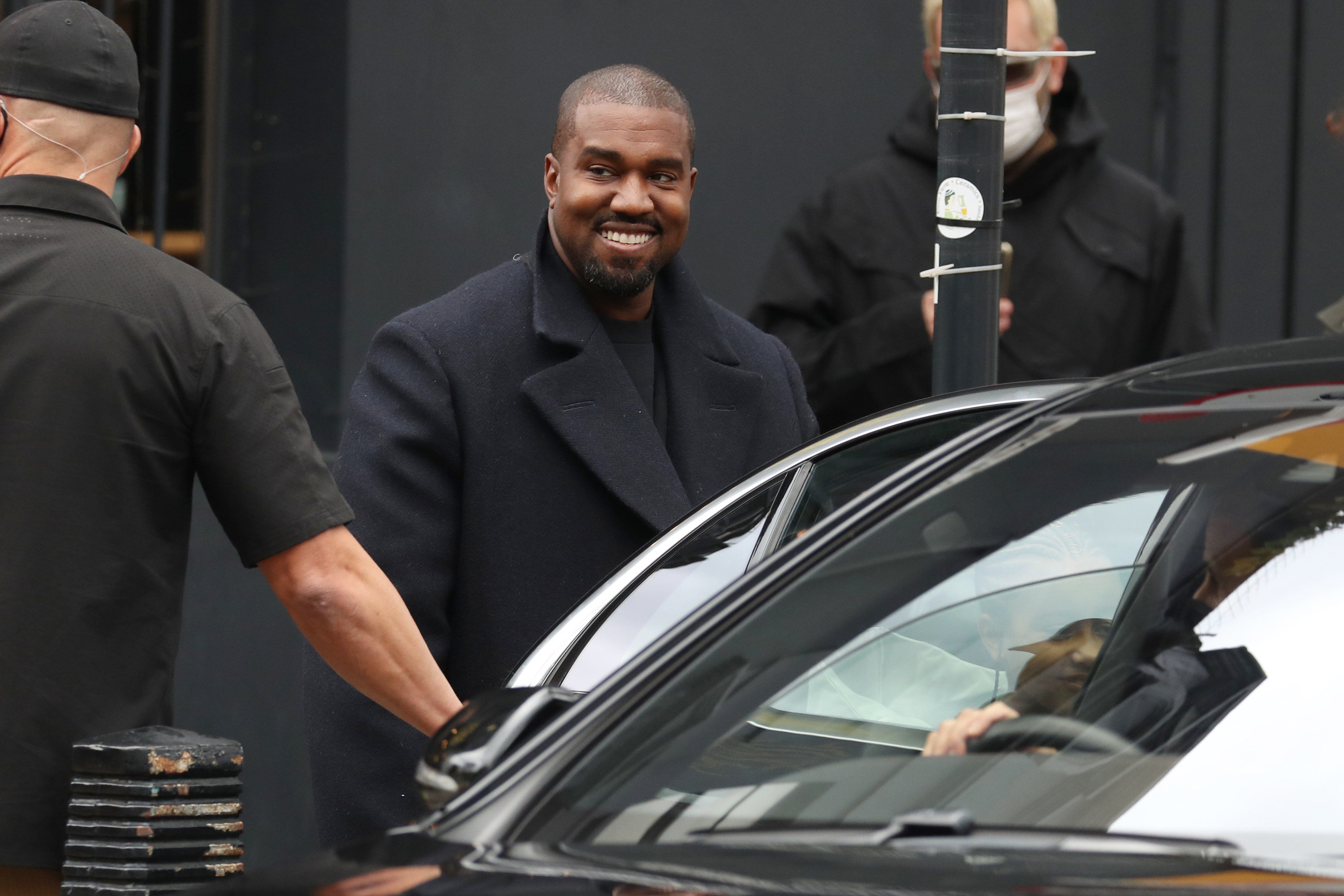Kanye West seen leaving Michiko Sushino restaurant with his daughter North West in Queen's Park on October 10, 2020 in London, England