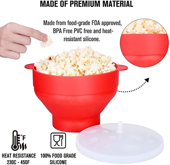 Red collapsible microwave popcorn maker with a silicone lid.