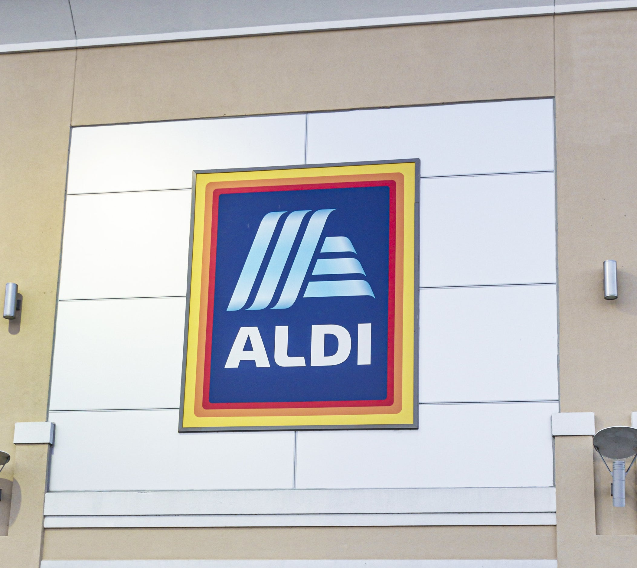 The Aldi sign on a building