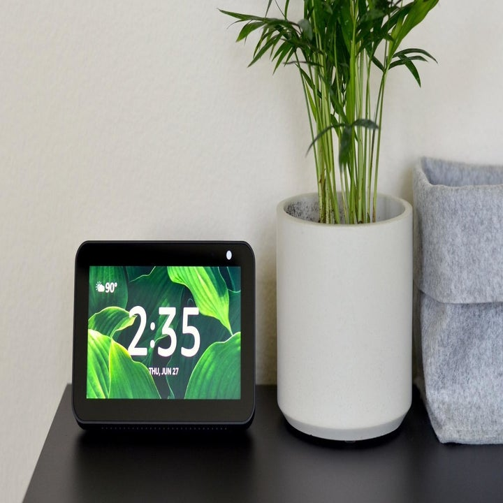A reviewer photo of an Alexa Echo Show 5 showing the time that's sitting on a table next to a potted plant