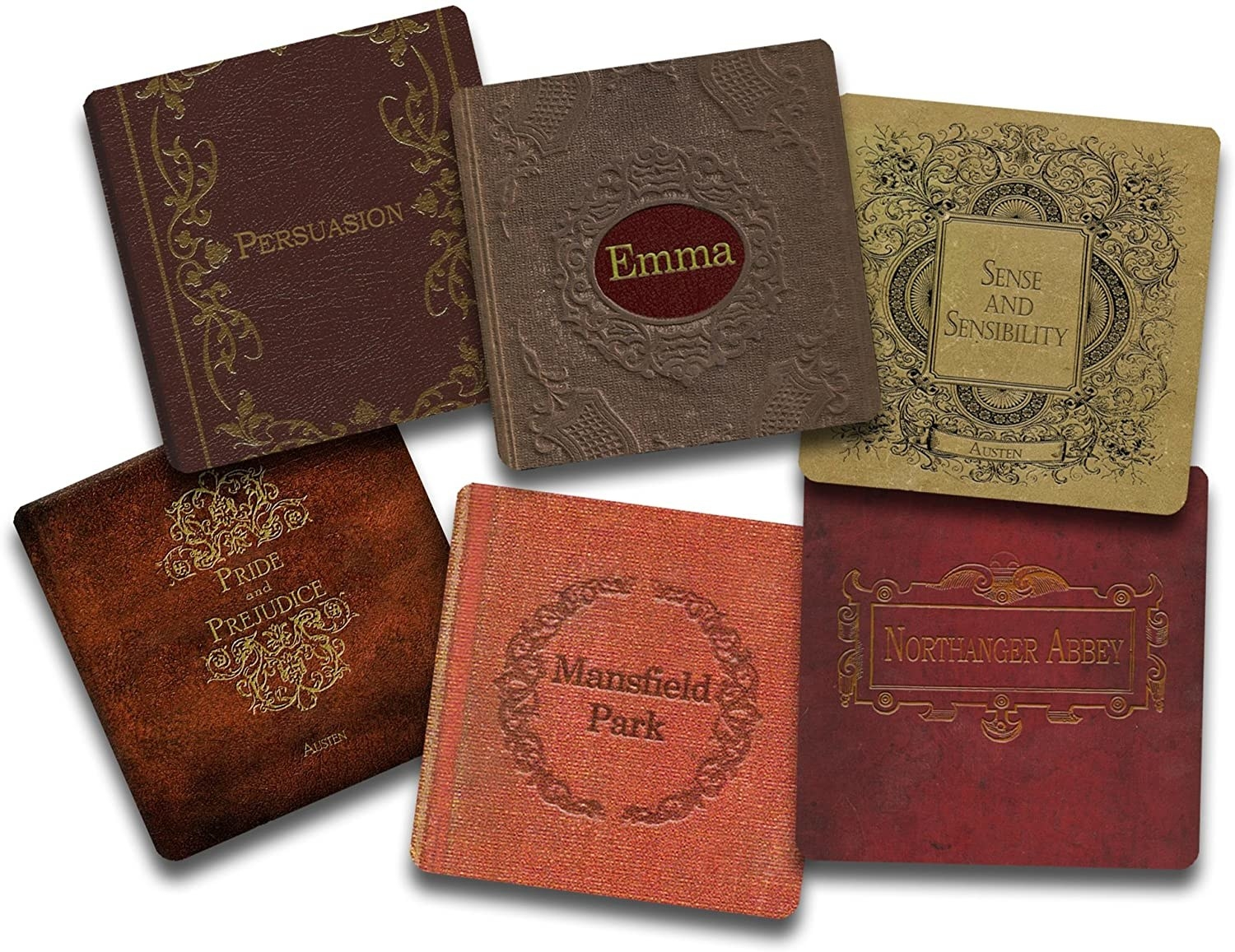 The six coasters in different covers to look like leather-bound books