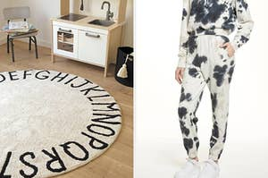 left image: circle A to Z rug, right image: tie-dye joggers
