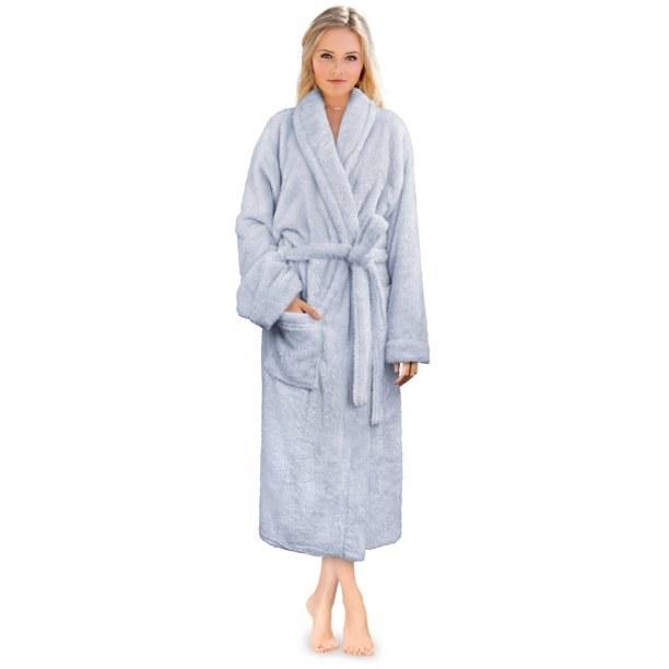 Model in fluffy warm robe