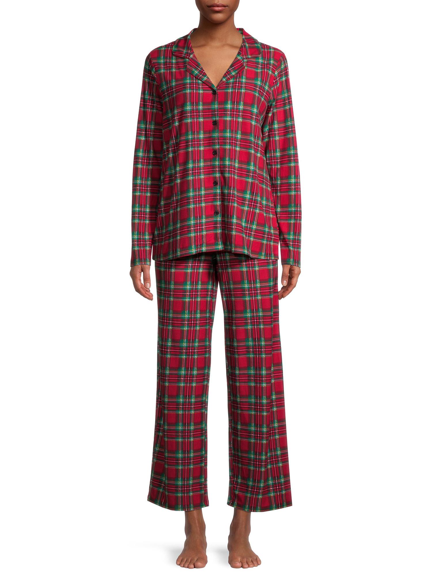 Model in tartan pajama set