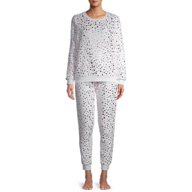 Model in plush pajama set