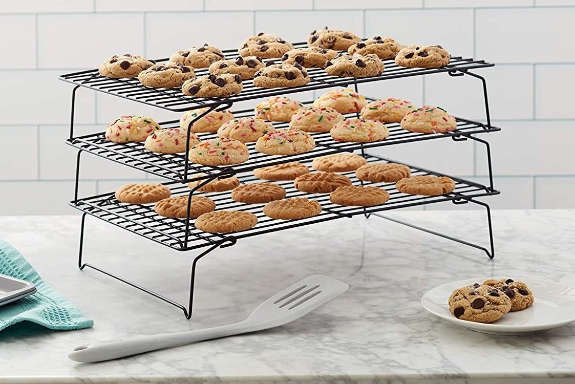 the cookies on a cooling rack