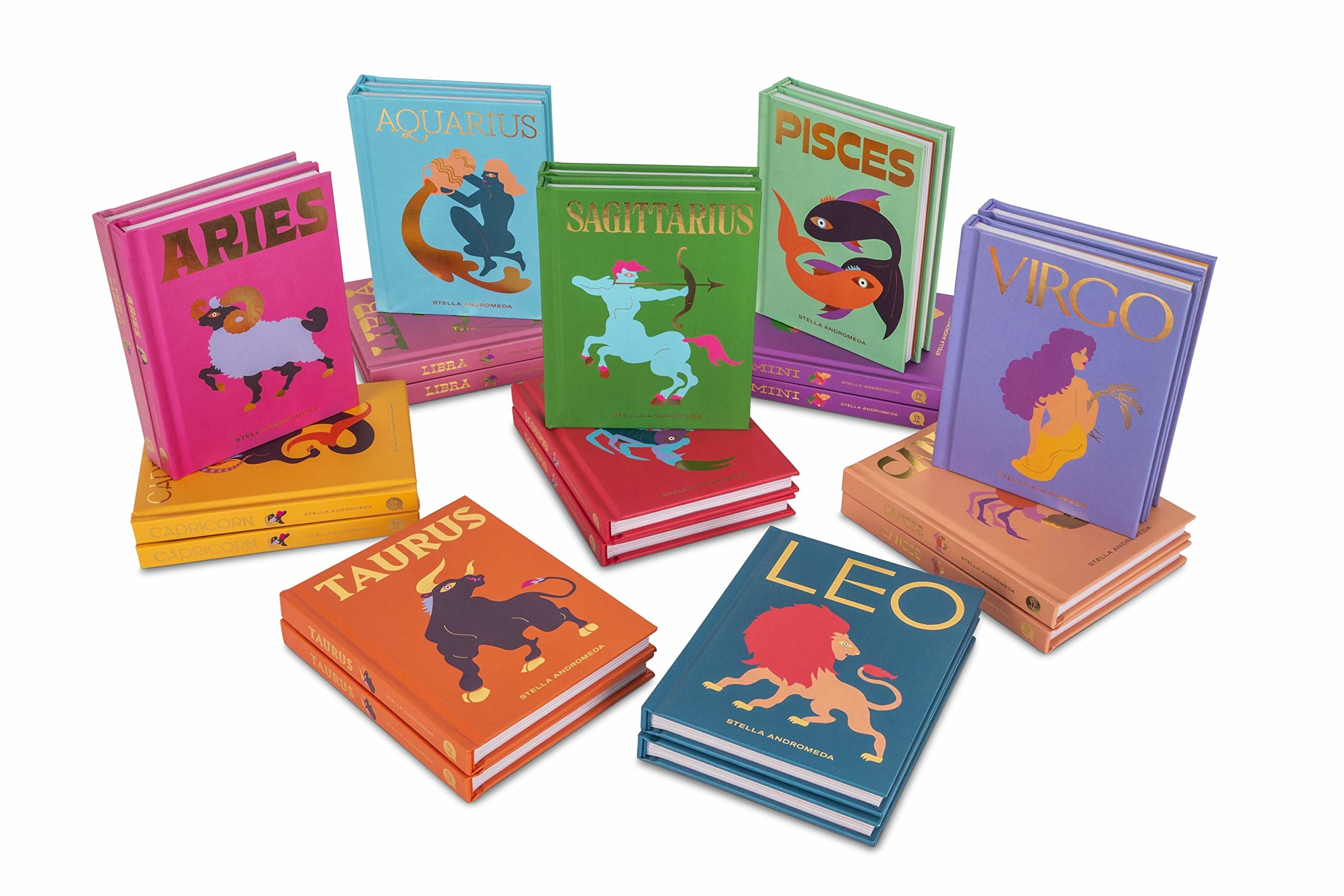 The books, with foil titles of the zodiac signs plus colorful illustration representing the sign, each book in a different color