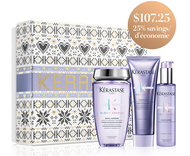 A Kerastase blond absolu hair product gift set