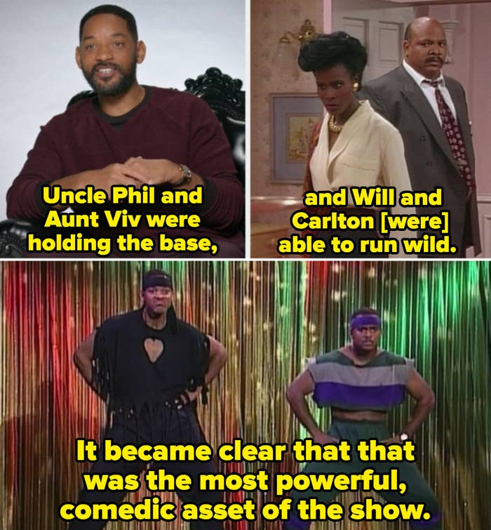 Will Smith explaining the chemistry between him and Alfonso Ribeiro while showing a clip of Will and Carlton doing a funny dance on stage
