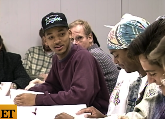 Will Smith, Karyn Parsons, and Alfonso Ribeiro sitting at a table read during one of the earlier seasons