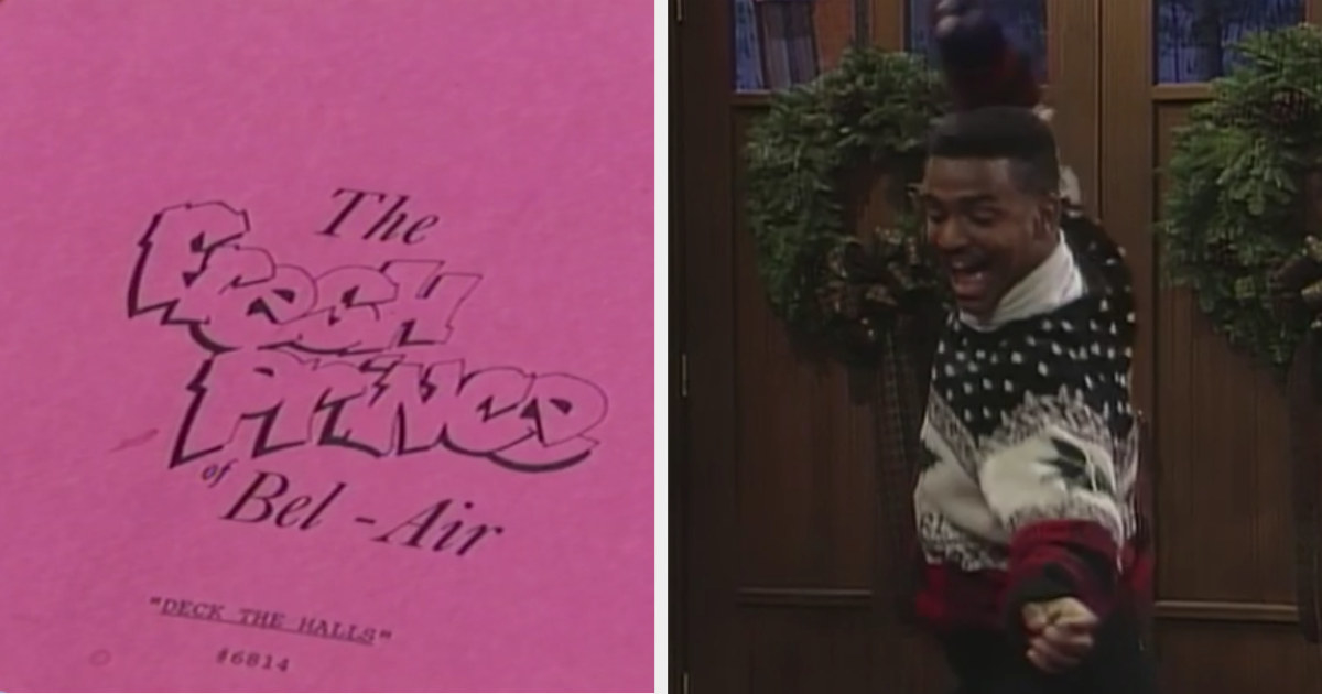 """An image of a """"Fresh Prince"""" script, titled """"Deck the Halls"""" and Carlton doing """"The Carlton"""" dance for the first time in a Christmas sweater."""