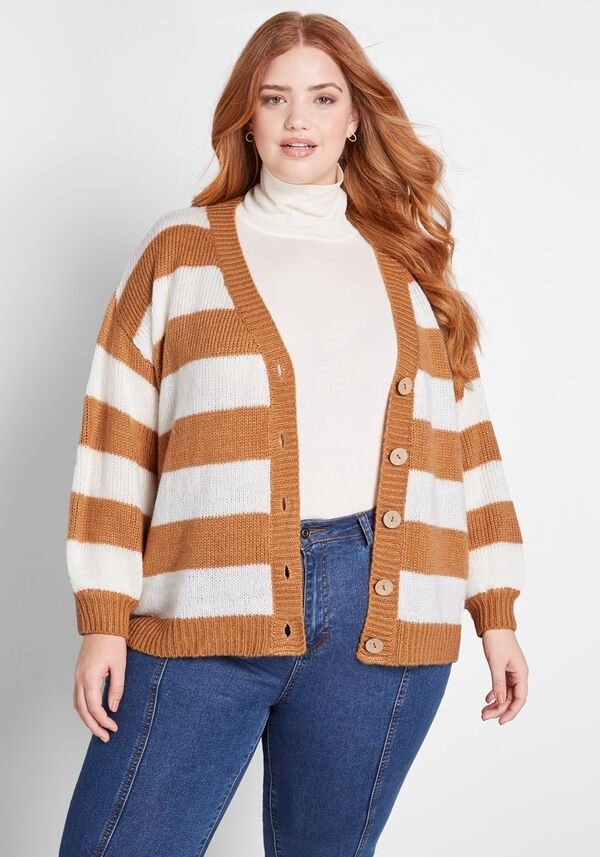 Model wearing the brown and white stripe cardigan