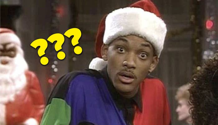 """Will Smith in a Santa hat looking confused in """"The Fresh Prince"""""""