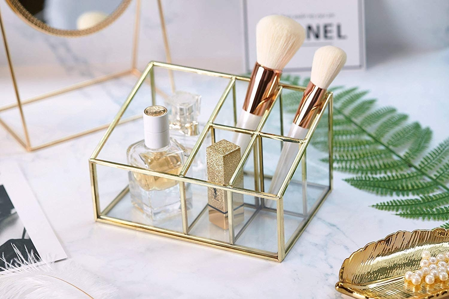 the makeup compartment with gold detailing