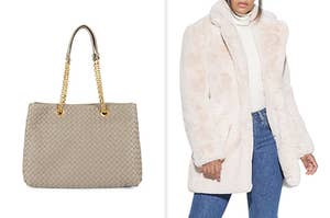 A woven leather tote / a faux fur coat