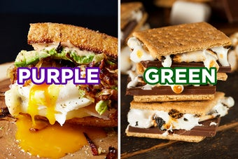 On the left, a breakfast sandwich with bacon, avocado, and an egg with a runny yolk labeled