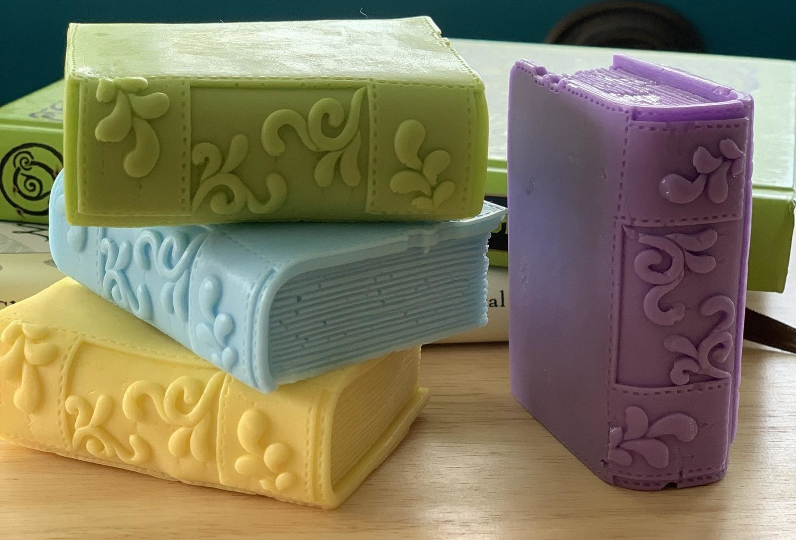 the various colors of book soap bars