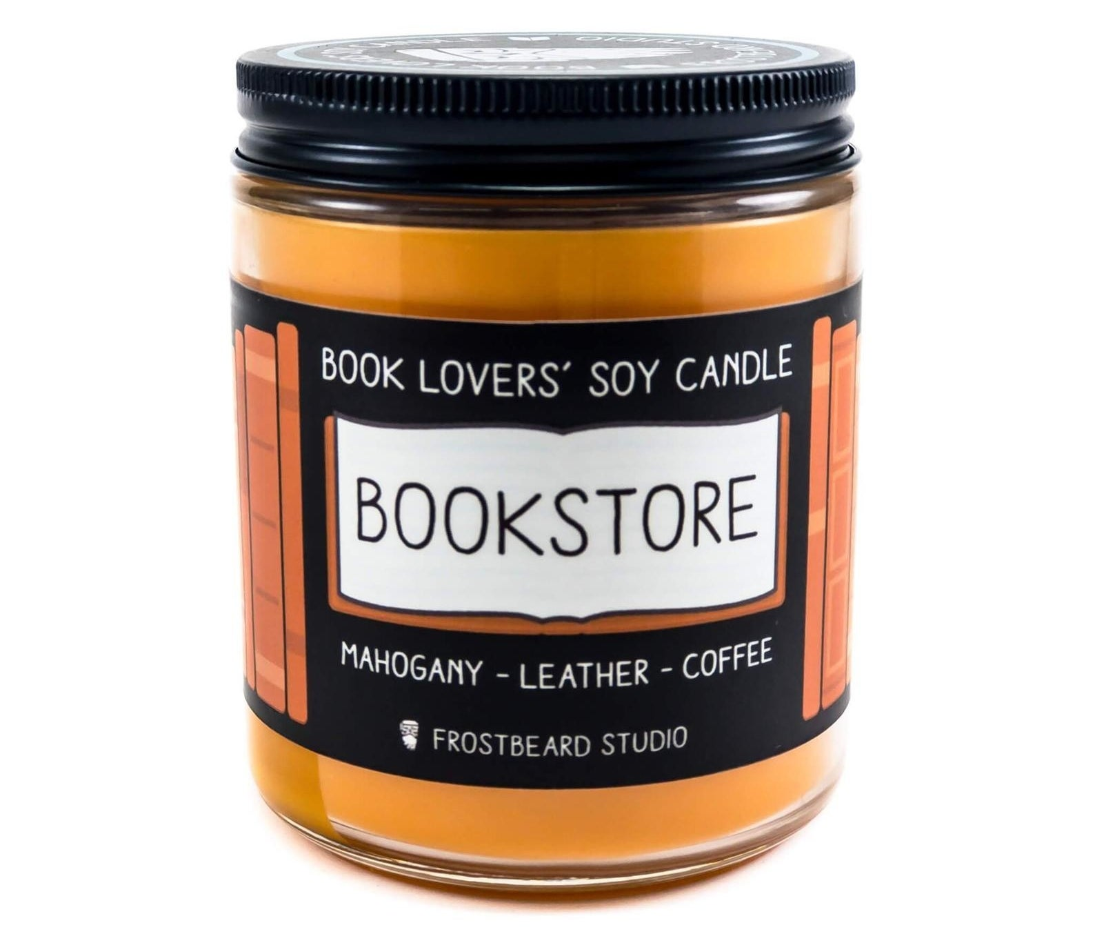 the orange candle with the bookstore label and labeled as smelling like mahogany, leather, and coffee