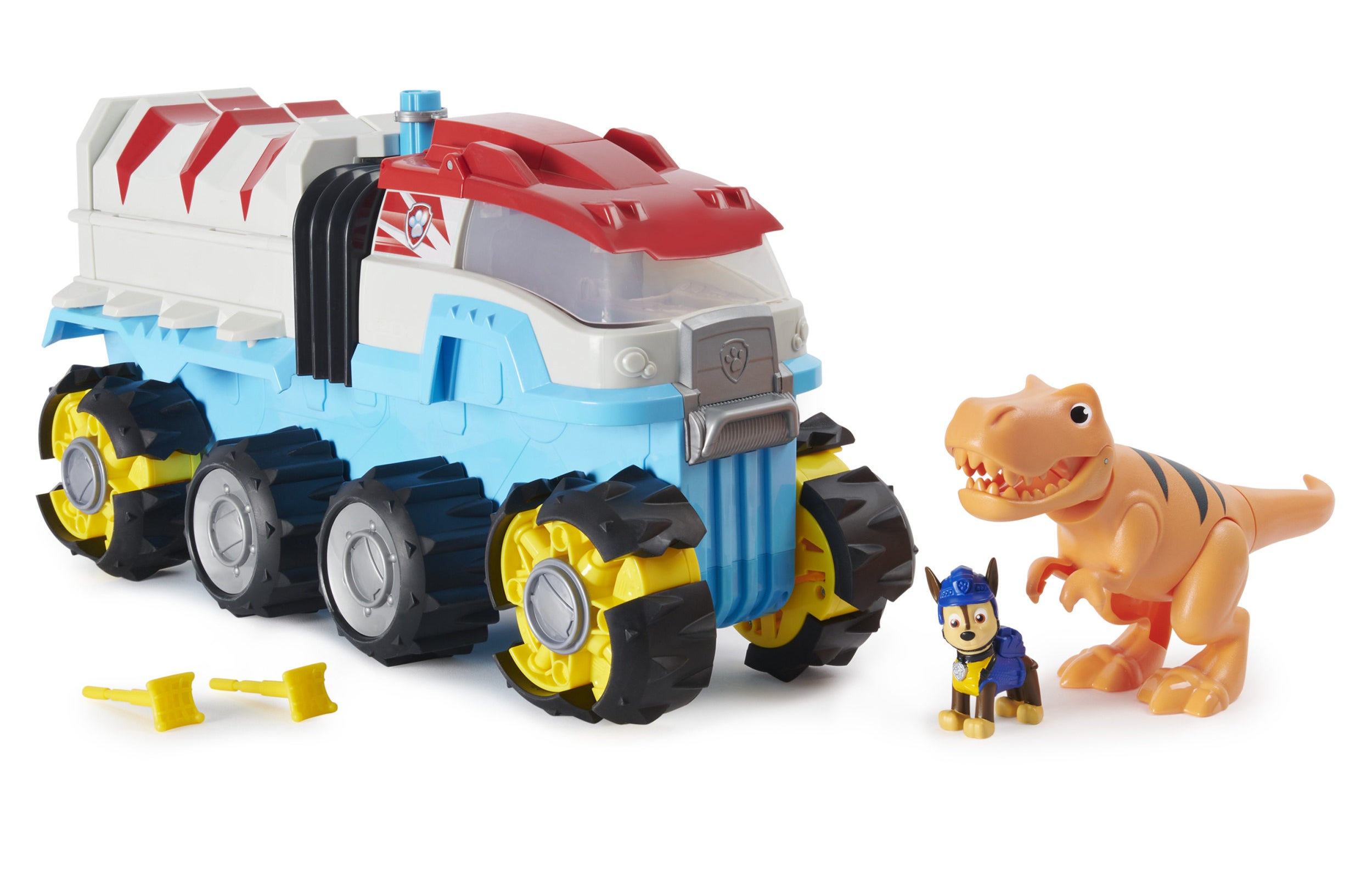 paw patrol vehicle with dinosaur and dog toy at the front