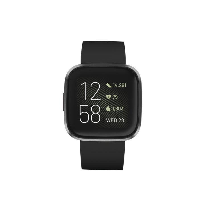 black fitbit versa 2 smartwatch with data on the front