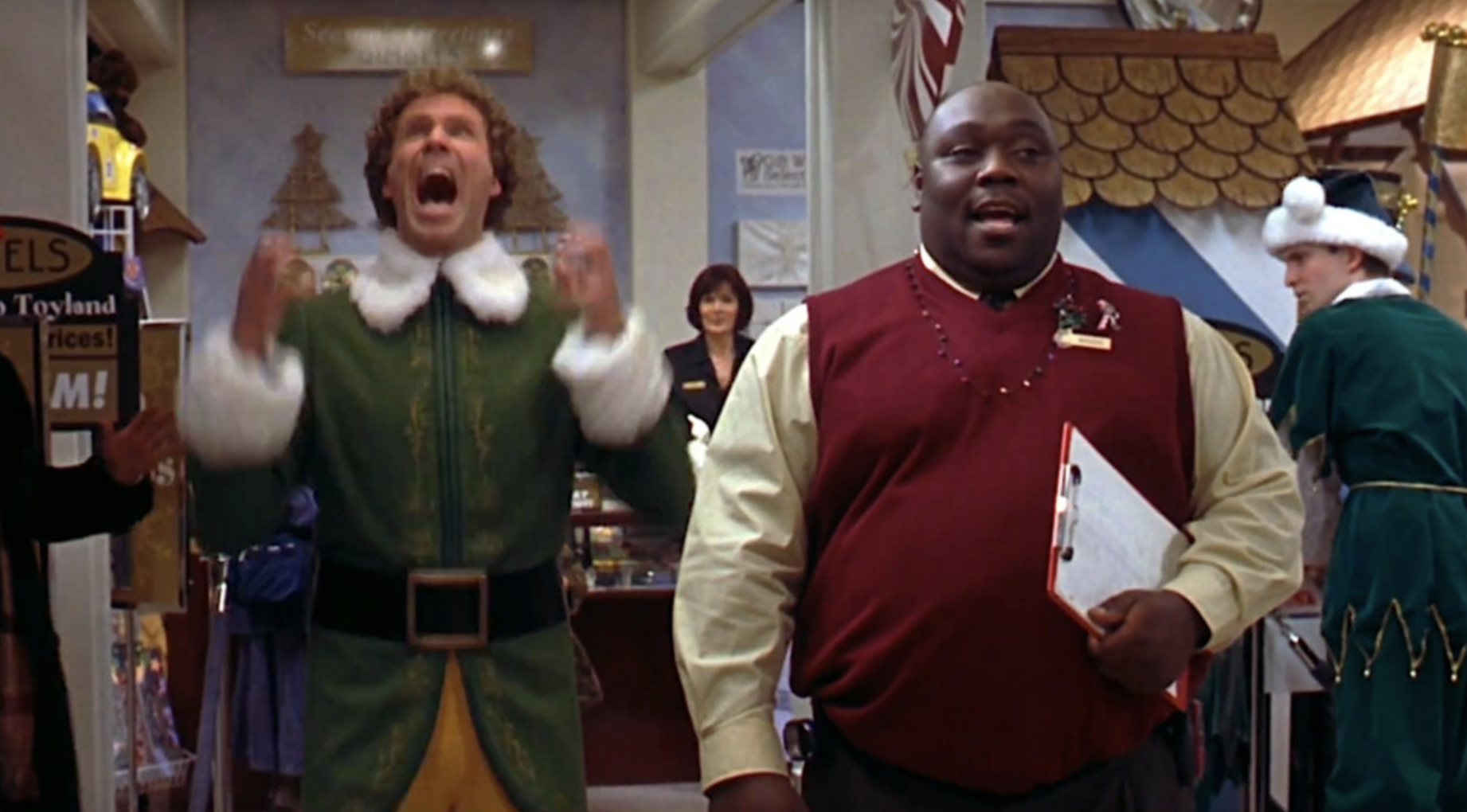 """Buddy the Elf screaming with joy at the mall in """"Elf"""""""