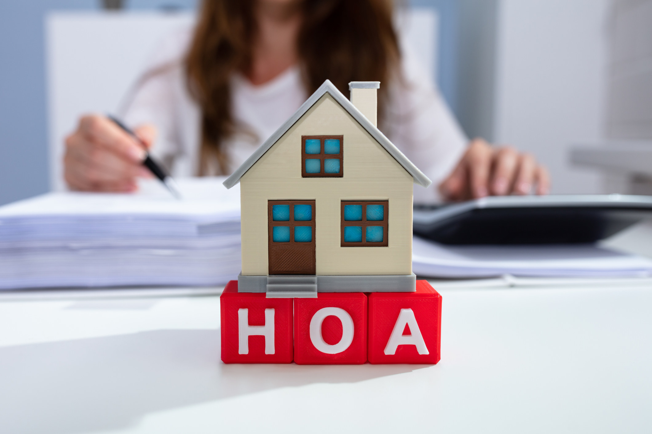 """Blocks that say """"HOA"""" with a tiny house figurine on top"""