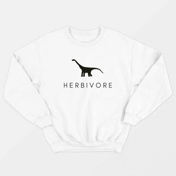 beyaz otobur dinozor sweatshirt