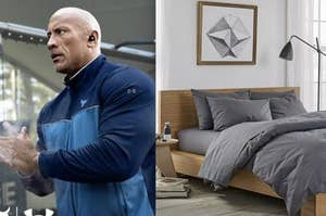 Side-by-side of The Rock working out with wireless headphones in, and a bed with a grey duvet cover