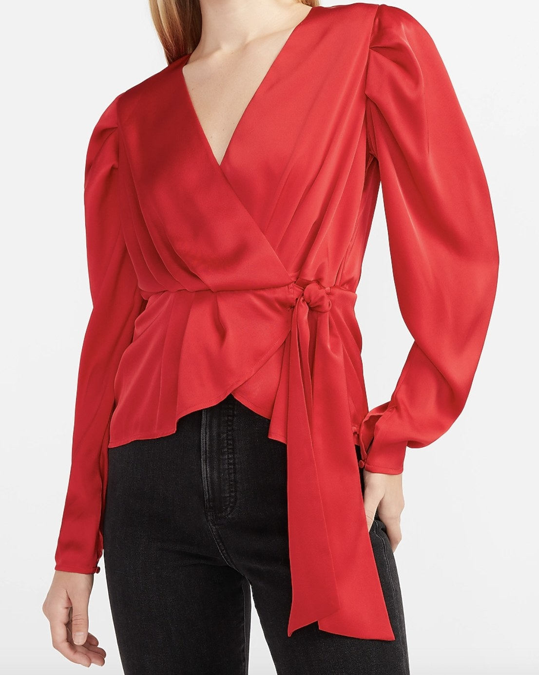 A satin pleated sleeve wrap front top in red
