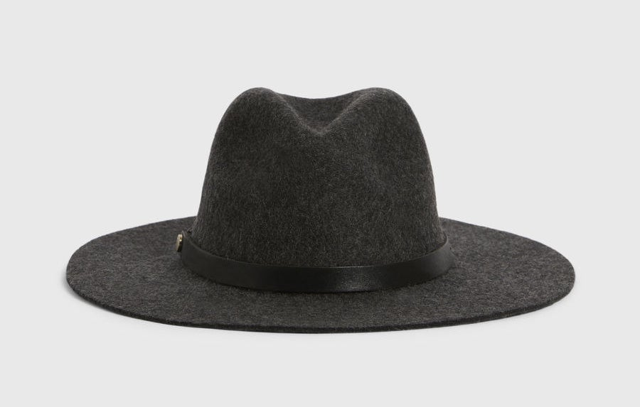 the black wool hat, which has a black leather trim