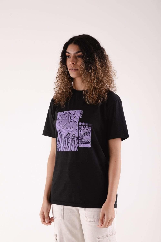 a model wears the san pedro t-shirt