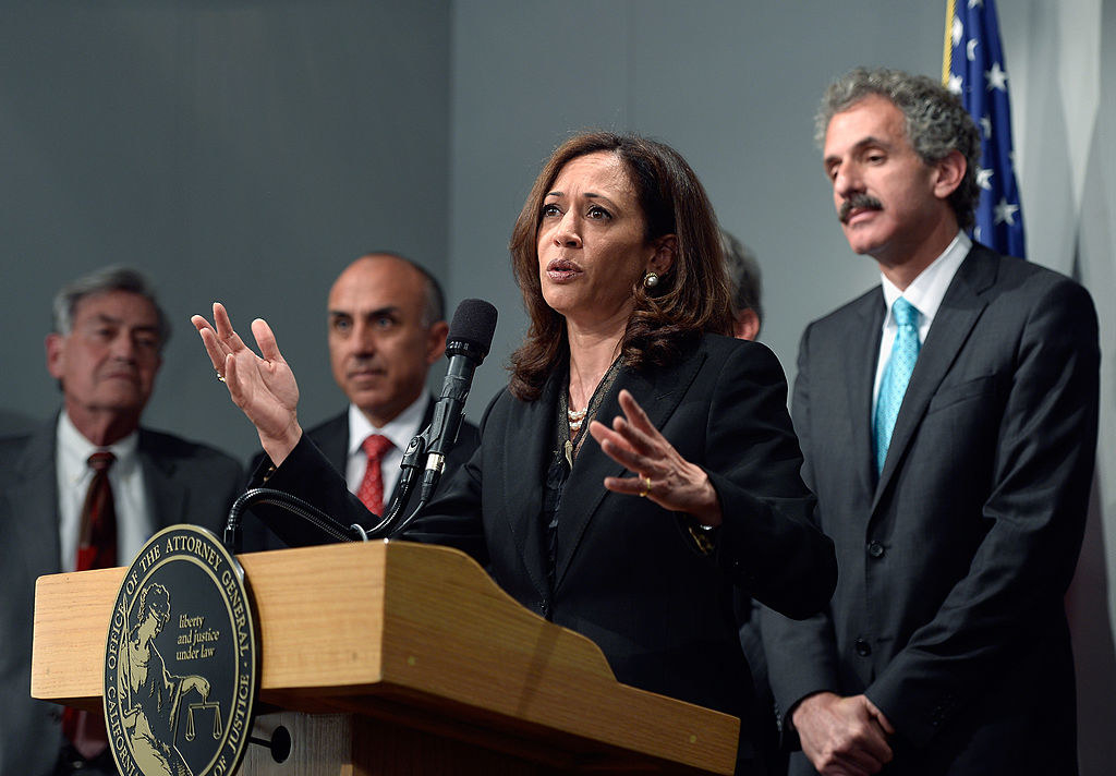 Attorney General Harris at a press conference