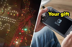 """A woman from """"The Grinch"""" is decorating her house on the left with a Nintendo Switch on the right labeled, """"Your gift"""""""